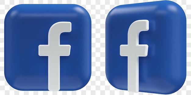 3d facebook-pictogrammen in twee hoeken aan de voorkant en driekwart geïsoleerde illustraties
