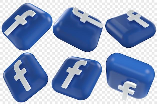 3d facebook-pictogrammen in zes verschillende hoeken geïsoleerde illustraties