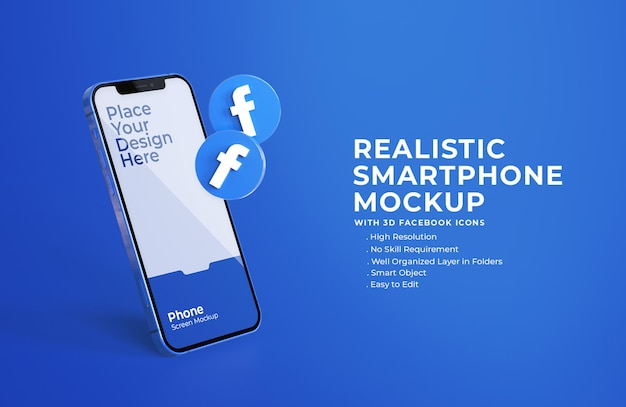 3d facebookpictogrammen met mobiel schermmodel