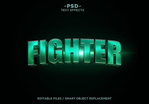 3d fighter filmische effect tekstsjabloon