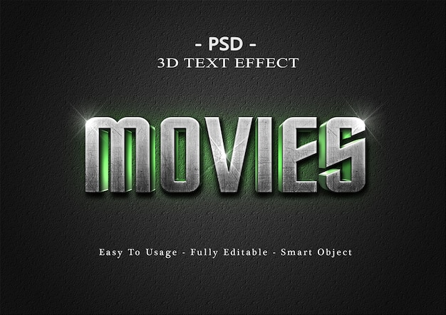 3d-films tekststijl effect sjabloon