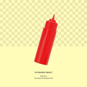 3d fles saus illustratin object gerenderd premium psd