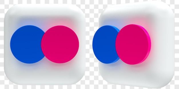 3d flickr-pictogrammen in twee hoeken vooraan en driekwart geïsoleerde illustraties