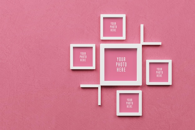 3d-frame mockup op roze muur achtergrond