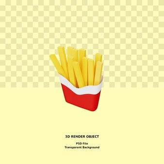 3d franse frietjes illustratin object gerenderd premium psd