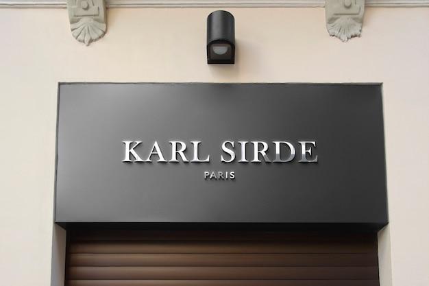 3d front logo mockup modern facade chrome sign