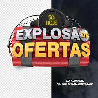 3d-front render explosie van aanbiedingen voor algemene winkels en campagnes in brazilië