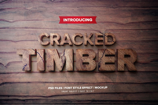 3d gebarsten hout lettertype effect sjabloon