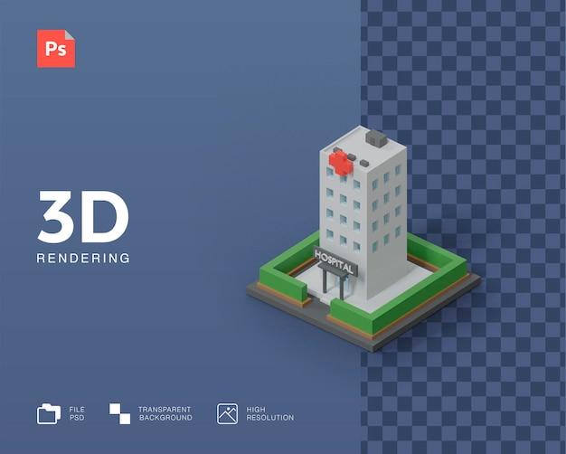 3d gebouwen ziekenhuis illustratie weergave
