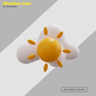 3d gedeeltelijk bewolkt weerpictogram