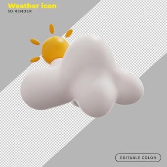 3d gedeeltelijk zonnig weerpictogram