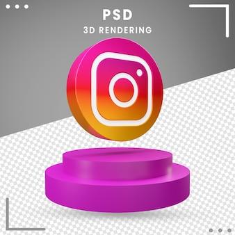 3d gedraaid pictogram logo instagram geïsoleerd