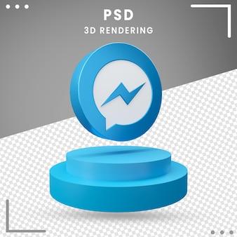 3d gedraaide embleempictogram messenger ontwerp rendering geïsoleerd