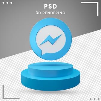 3d gedraaide logo messenger design rendering geïsoleerd
