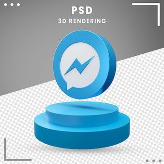 3d gedraaide pictogram messenger ontwerp geïsoleerd rendering