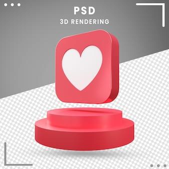 3d gedraaide pictogram rode liefde