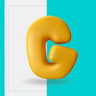 3d geef van alfabetbrief g terug