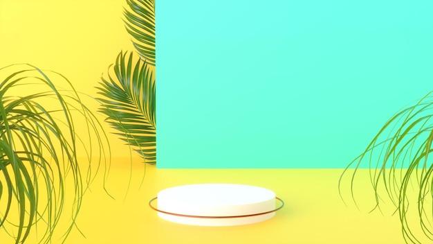 3d geef van de zomerpodium met palmblad terug