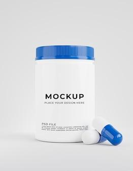 3d geef van fles met geneeskunde voor productvertoning terug