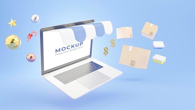 3d geef van laptopopslag met het winkelen online concept terug