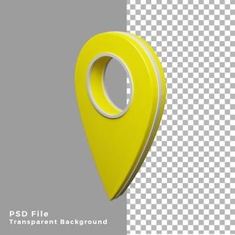 3d-geel locatiepictogram