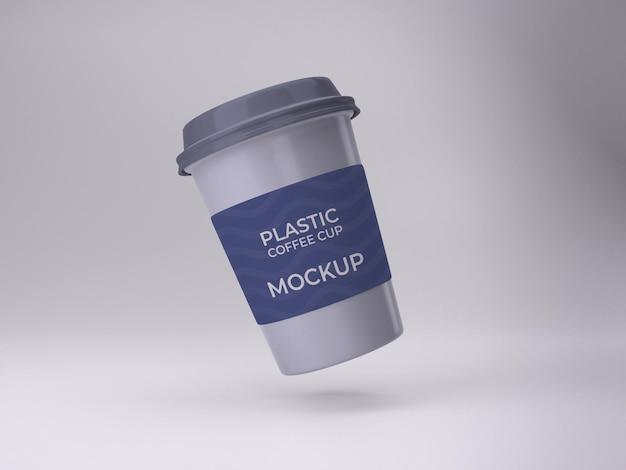 3d geïsoleerd premium kwaliteit plastic koffiekopje mockup ontwerp