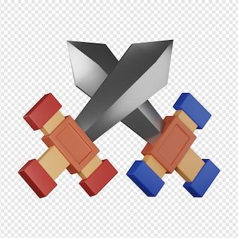 3d geïsoleerd render van twee zwaarden icoon psd