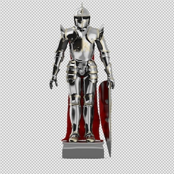 3d geïsoleerd standbeeld van de ridder geeft terug