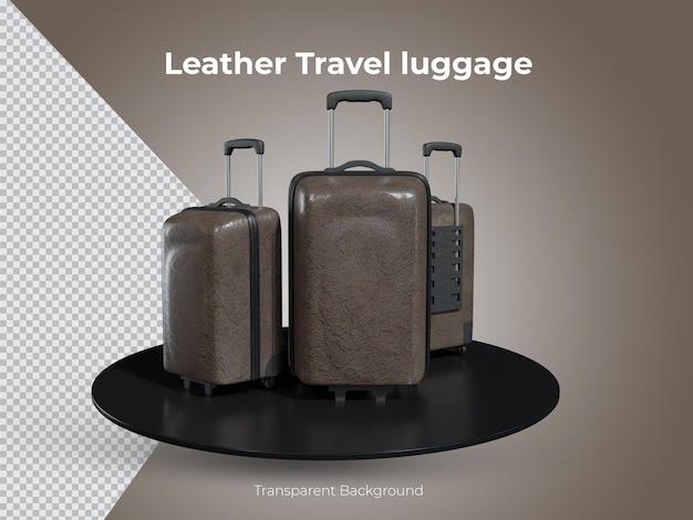 3d geïsoleerde hoogwaardige lederen reisbagage set voorzijde vie