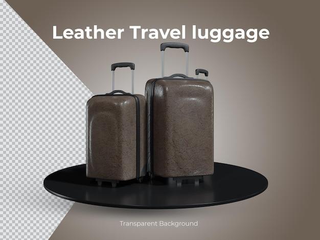 3d-geïsoleerde hoogwaardige lederen reisbagageset