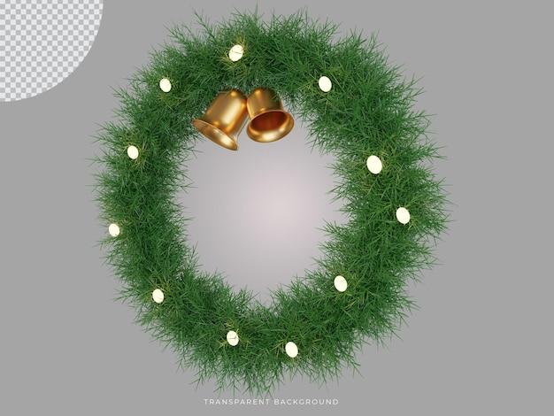 3d geïsoleerde kerstkrans met bel transparante achtergrond