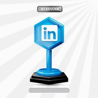 3d geïsoleerde linkedin pictogram illustratie van sociale media