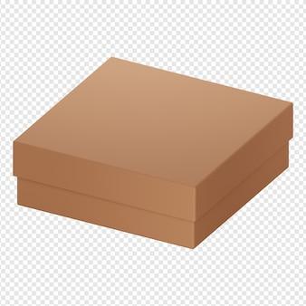 3d-geïsoleerde render van bruine doos kartonnen pictogram psd