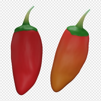 3d-geïsoleerde render van chili pictogram psd