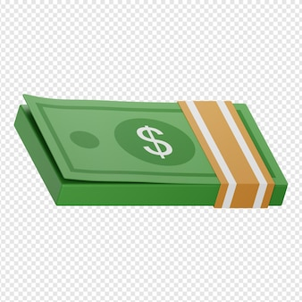 3d-geïsoleerde render van geldpictogram psd