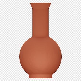 3d-geïsoleerde render van klei pot pictogram psd