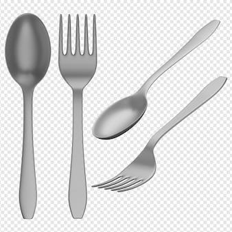 3d-geïsoleerde render van lepel en vork pictogram psd