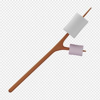 3d-geïsoleerde render van marshmallow-pictogram psd