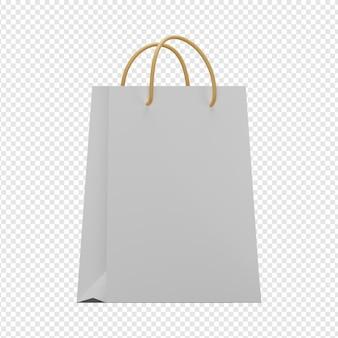 3d geïsoleerde render van papieren zakpictogram psd