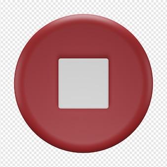 3d-geïsoleerde render van stopknoppictogram psd