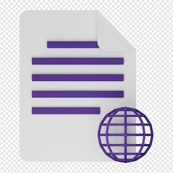 3d geïsoleerde render van website documentpictogram psd
