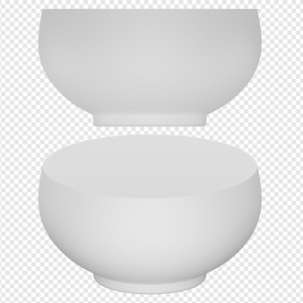 3d-geïsoleerde render van witte kom pictogram psd