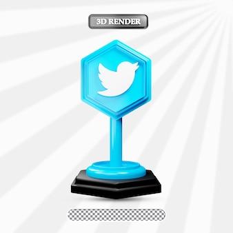3d geïsoleerde twitter pictogram illustratie van sociale media