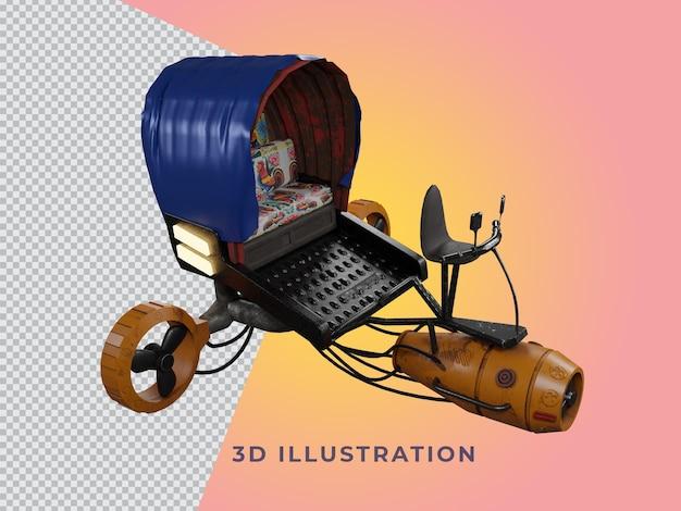 3d-geïsoleerde weergave riksja model