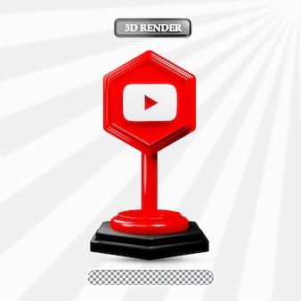 3d geïsoleerde youtube-pictogramillustratie van sociale media