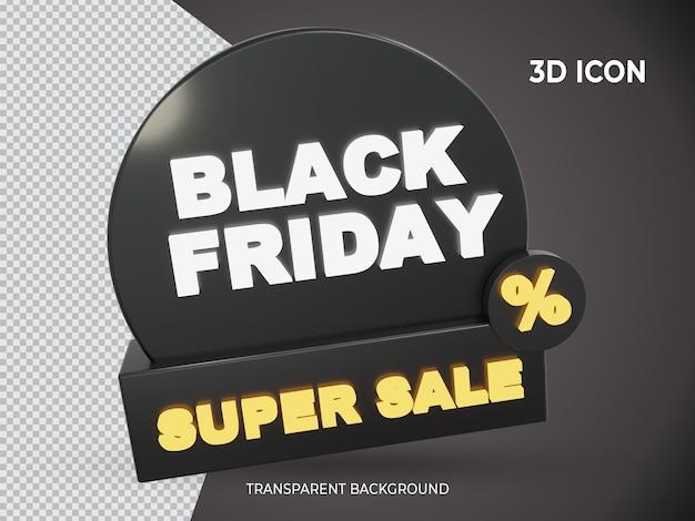 3d geïsoleerde zwarte vrijdag super verkoop transparant pictogram