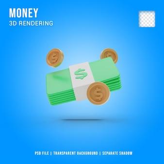 3d-geld pictogram cartoon stijl, 3d-rendering