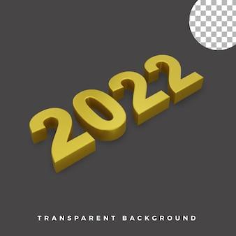 3d gelukkig nieuwjaar 2022 elegant luxe goud isometrisch concept van hoge kwaliteit