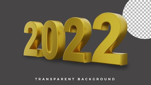 3d gelukkig nieuwjaar 2022 elegant luxe goud van zijconcept van hoge kwaliteit
