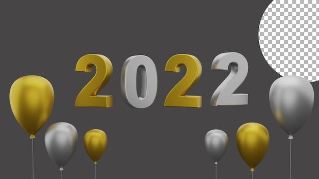 3d gelukkig nieuwjaar 2022 elegant luxe goud zilver ballonconcept van hoge kwaliteit